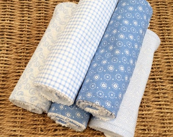 5 Cotton Baby Burp Cloths Set- blue and white modern towelling cotton baby burp cloth set