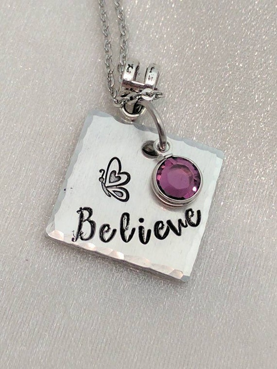 Believe Necklace - Simple Word Necklace - Butterfly Necklace - Hand Stamped Jewelry - Inspirational Jewelry - Birthstone Jewelry - Handmade