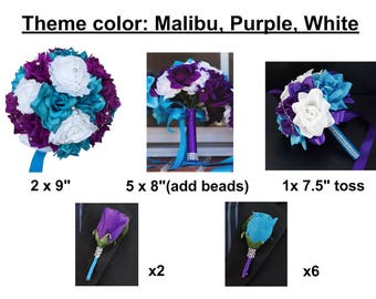 Reserved-Lauren- 27 pc wedding package (Malibu,purple,white)