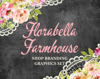 Shabby Chic Shop Branding Banners, Avatar Icons, Business Card, Logo Label + More - 13 Premade Graphics Files - FLORABELLA FARMHOUSE