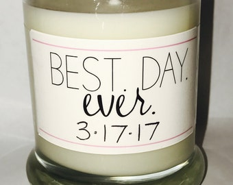 Wedding favor- Soy candle- best day ever- candle gift for wedding- bride candle- bride gift- bride to be gift- gifts for bride and groom