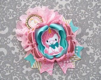 Unicorn Hair Bow - Gold and Pink Unicorn Bow - Pink and Blue Unicorn Blue - Blue and Gold Unicorn Bow - Unicorn Birthday Bow - Pink and Gold