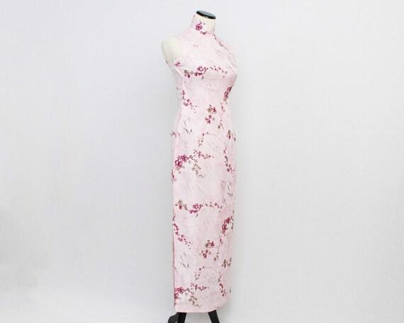 Pink Floral Cheongsam Dress - Size Extra Small Vintage 1960s Cherry Blossom Print Mandarin Collar Maxi Dress