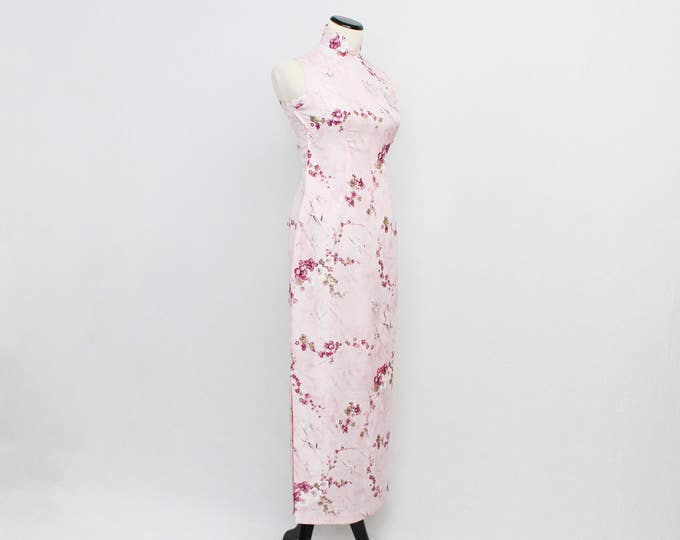 Pink Floral Cheongsam Dress - Size Extra Small Vintage 1960s Cherry Blossom Print Mandarin Collar Maxi Dress