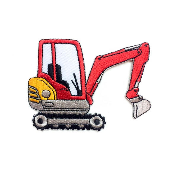 RED Truck Iron-on Patch - Construction Vehicle - Red ...