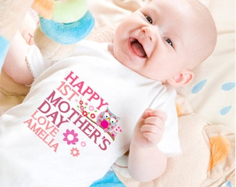 Personalised First Mother's Day Bodysuit Pink