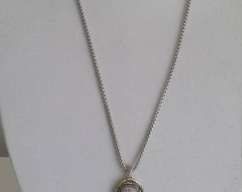 """30"""" Long Silver/ Rhodium Plated Silver Necklace,Pave Pandant with solid tassel,Valentine's Gift/gift for her/Mother's day gift"""