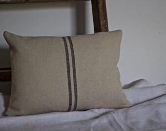 Grey Striped French Grainsack Oblong Cushion