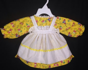 Dress and Apron for 25 inch Raggedy Ann Doll; Yellow Dress with flowersand bees, Rick Rack trim on the Apron Bottom.