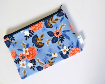 Floral Zipper Bag, Rifle Paper Co, Small Makeup Bag, Stocking Stuffer Utility Pouch Cosmetic Bag Small Clutch Purse Insert Bridesmaid Gift