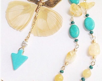 Turquoise Butterfly Y Necklace Handmade