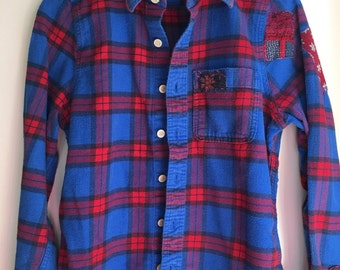 Vintage Girls sz large blue and red plaid button down flannel shirt with vintage floral sari patches Three Whiskers Farm Upcycled