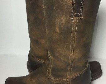 Frye 77410 Brown Leather Cavalry 12L Motorcycle Biker Riding Boots Women's Size 7