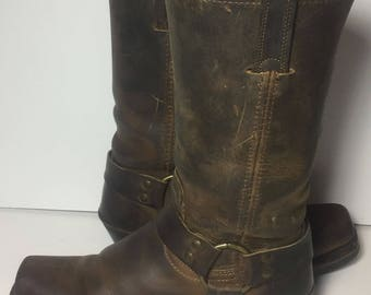 Frye 77300 Harness Brown Leather Biking Riding Motorcycle Boot 12r Women's Size 8