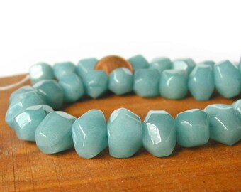 "15"" Jade 14mm FACETED Irregular Nugget beads gemstone -  blue - Half / Full Strand"