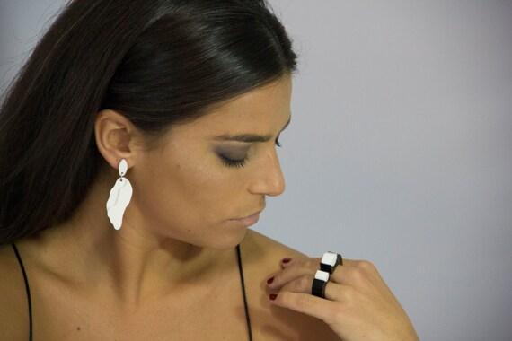 THEA Drop Perspex Earrings nickel free TITANIUM Flat Pad and backs