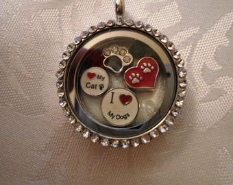 Floating Memory Locket Cat and Dog Theme with Chain