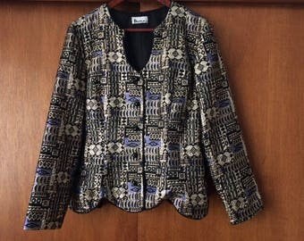 Vintage Patra Metallic Gold Blue Black Lame Pattern Jacket L/XL