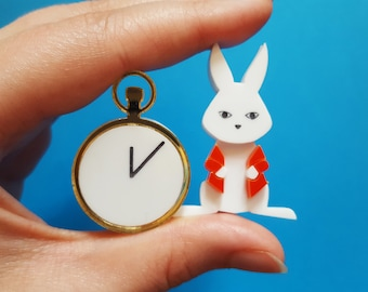 White Rabbit Brooch Set