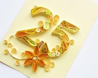 Happy 25th Birthday Card, Blank quilling card, 25th Anniversary Card, Personalised Wedding Anniversary Card,  Silver Wedding card