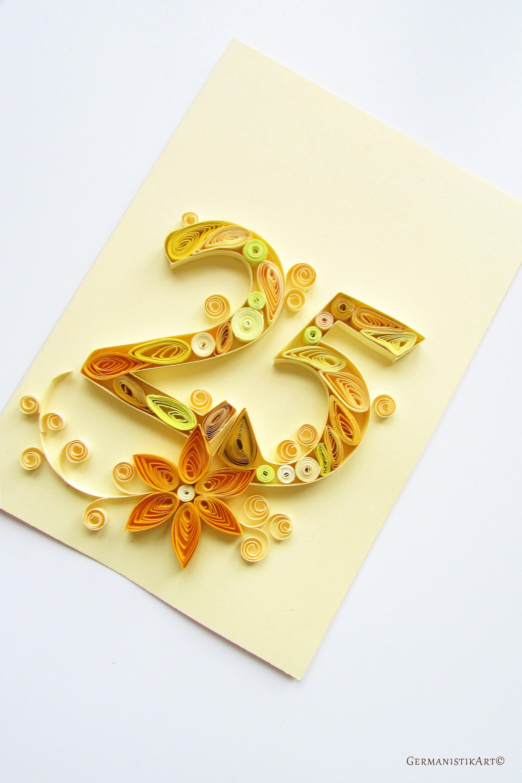 25th wedding anniversary christmas ornament - Happy 25th Birthday Card Blank Quilling Card 25th Anniversary Card Personalised Wedding Anniversary