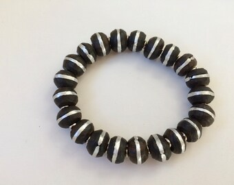 Hand Made Black and Silver Tribal African Stretchy Bracelet Mali Ebony Wood Bead Inlaid Mixed Silver Ethnic Jewelry Accessories For Women