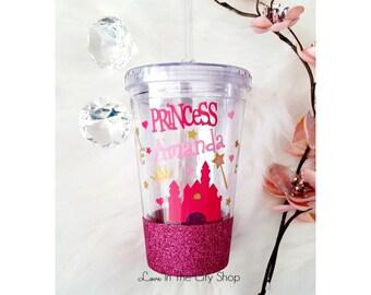 Girl Birthday Cup, Princess Birthday, Birthday Tumbler, Little Girl Tumbler, Glitter Tumbler, Birthday Tumbler, Birthday Cup, Princess Decor