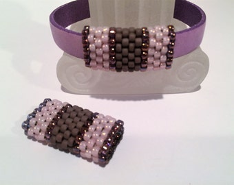 SALE: Handmade Beaded Tube, Frosted Lavender, Light Pink, Half Round