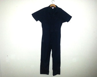 Vintage Car Mechanic's Coveralls Short Sleeve Navy Blue Jumpsuit