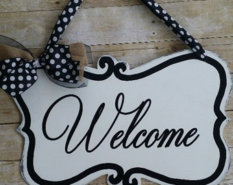 Front door welcome sign, shabby chic sign, door hanger