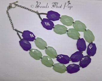 Purple & Sea Foam Green MultiStrand Beaded Necklace, Chunky Necklace, Statement Necklace, Chunky Statement Necklace