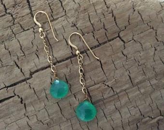 Timeless Green Chalcedony Earrings