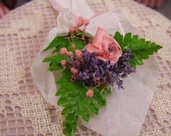 Long-stemmed Pink Silk Rose Bouquet for Dollhouse Scene