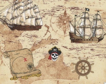Timeless treasures   pirate map 0,5 m pure Cotton Pirate Cove