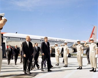 John F.Kennedy Arrives at Cape Canaveral for Presentation in 1961