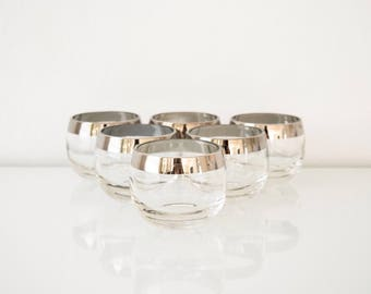 Dorothy Thorpe roly poly glasses, silver band, mid century modern, vintage, set of 6