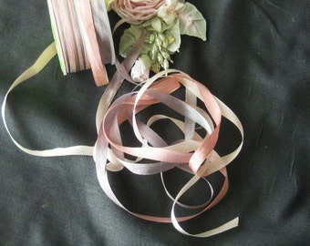 Beautiful Hand Dyed Variegated Silk Ribbon - 5Yd. Cuts - Dusty Plum/Taupe/Dusty Rose - Crafts, Sewing, Antique Reporduction & Ribbonwork