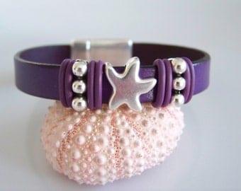 Purple Leather Starfish Focal Bracelet - Item R6231