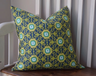 Navy and Green Floral Medallion Pillow Cover