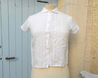 50s vintage, handmade cotton & lace top, size S, French vintage, vintage clothing, retro clothes, boho fashion.
