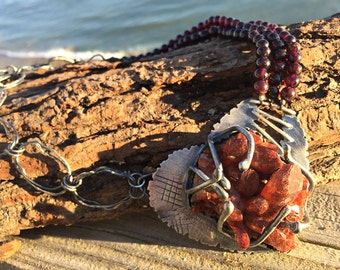 Heart. Raw, Primitive, Amulet. Artisan Sterling Silver. Organic, Tribal, Talisman. Post-Apocalyptic, Earthy, Red. Quartz Cluster, Garnet.