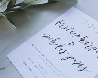 Modern Calligraphy Style Wedding Invitation | DIY Printable | Main Invitation | Save the Date | RSVP | Details