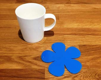 Daisy Shaped Bright Blue Gloss Finish Acrylic Coasters