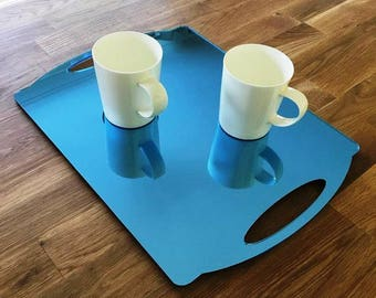 "Rectangle Flat Serving Tray - Blue Mirror Finish Acrylic, 3mm Thick 30cm x 40cm 12""x16"""