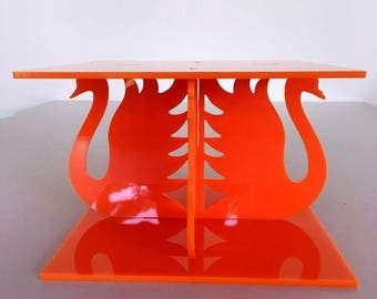 "Swans Square Orange Gloss Acrylic Cake Pillars/Cake Separators, for Wedding / Party Cakes 10cm 4"" High, Size 6"" 7"" 8"" 9"" 10"" 11"" 12"""