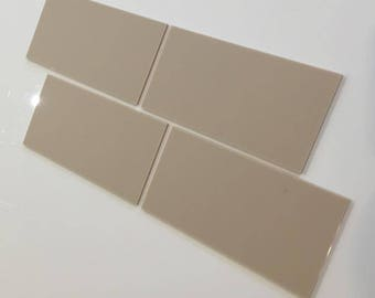 "Latte Beige Mat Acrylic Rectangle Crafting Mosaic & Wall Tiles, Sizes: 1cm to 25cm -  1"" to 10"""