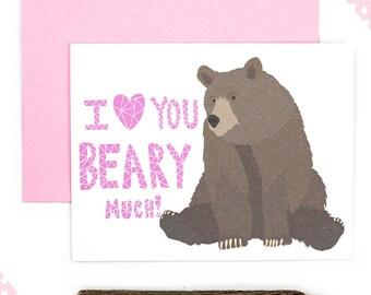 Cute Valentine Card, Valentines Day Card, Bear Love Card, Funny Pun, Punny Valentine, Funny Love Card