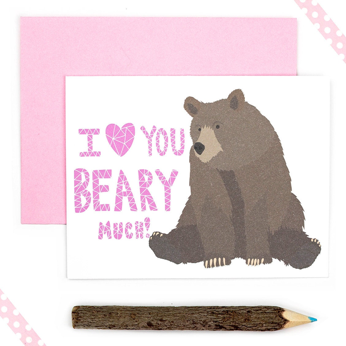 Cute Valentine Card Valentines Day Card Bear Love Card – Bear Valentines Card