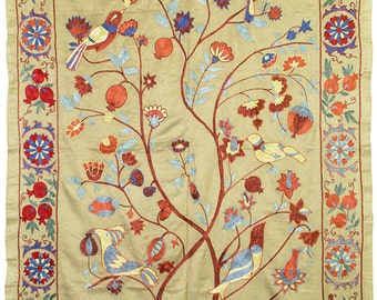 Handmade soft silk suzani fabric from Bukhara Uzbekistan A58