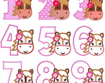 Horse Face With Number 1-9 Applique Machine Embroidery Design NO:0566